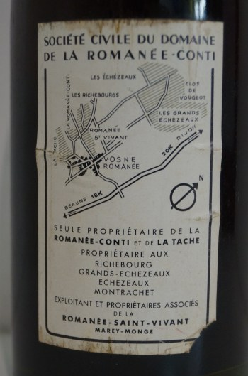 ロマネコンティ1978輸入元バックラベル