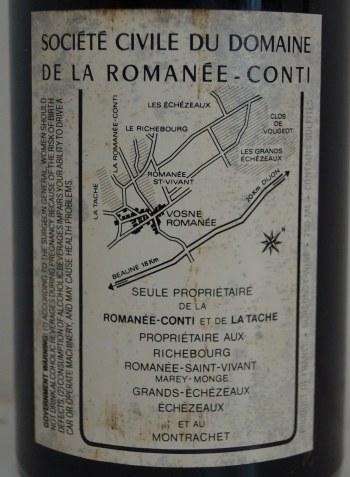 ロマネコンティ1988輸入元バックラベル
