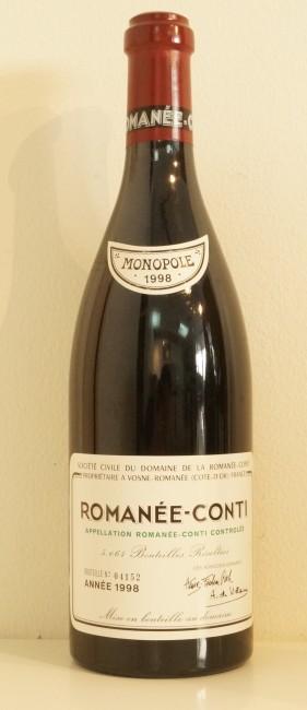 ロマネコンティ1998ボトルの状態
